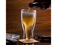 Комплект пивых бокалов в форме бутылки с двойным стеклом