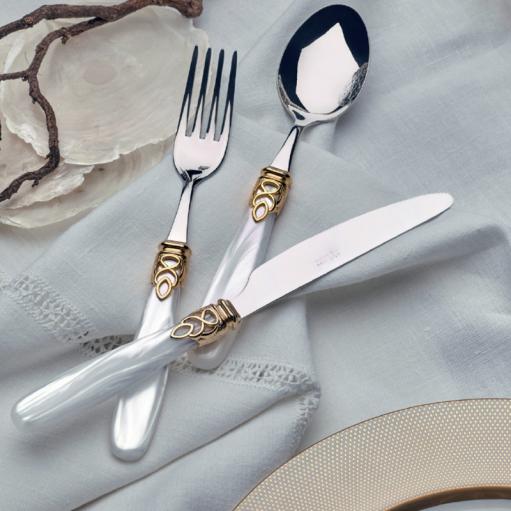 Набір столових приборів 24од. GIOIELLO GOLD STEEL WHITE Domus & Design