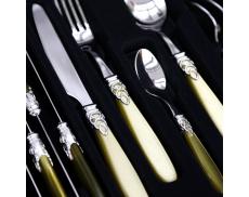 Набір столових приборів 24од. STEEL OLIVE GREEN Domus & Design