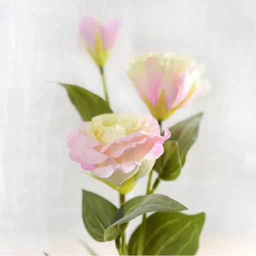 Искусственный цветок Эустома бело-розовая 70 см