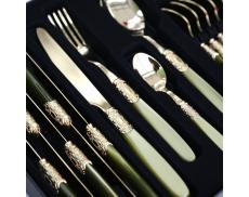 Набір столових приборів 24од. VICTORIA GOLD OLIVE GREEN Domus & Design