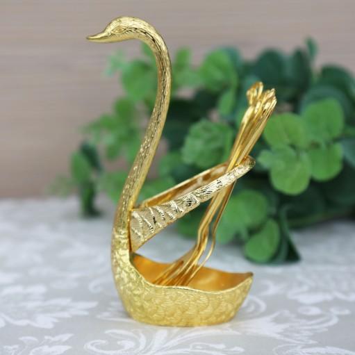 Комплект виделок для фруктів 6шт на підставці Swan Gold