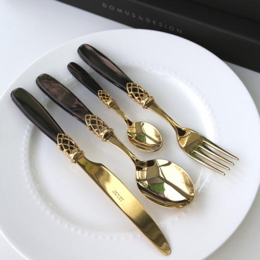 Набір столових приборів 24од. GOLD BROWN PEARL Domus&Design