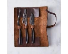 """Набор ножей для сыра """"Monaco Black"""" с кожаным чехлом"""